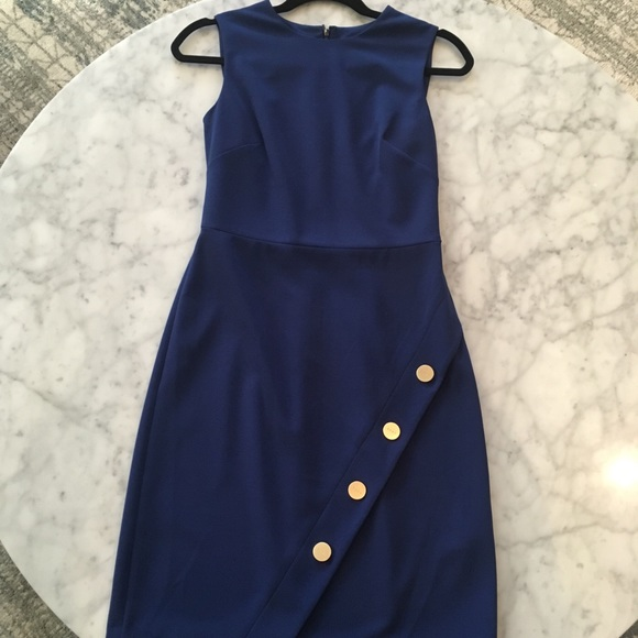 Dkny Dresses & Skirts - DKNY Dark Blue Dress with Gold Buttons